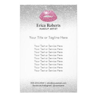 Flyer Salão de beleza cor-de-rosa do brilho da prata dos