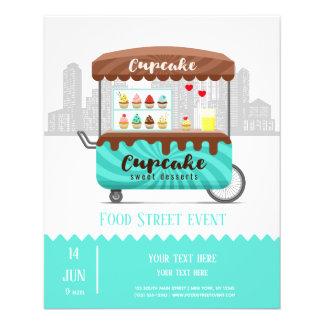 Flyer Sobremesas do doce do cupcake da rua da comida
