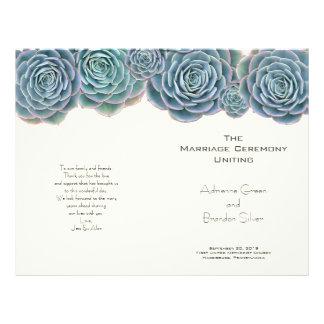 Flyer Succulents azuis verdes programas Wedding dobrados