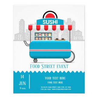 Flyer Sushi da comida da rua