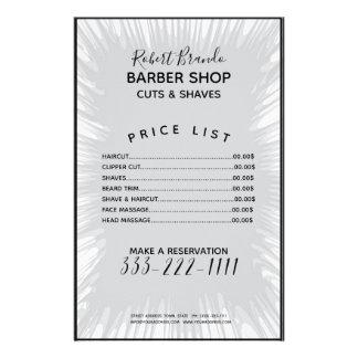 Flyer Tabela de preços cinzenta do barbeiro do fundo do