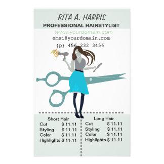 Flyer Tabela de preços do cabeleireiro do Hairstylist do