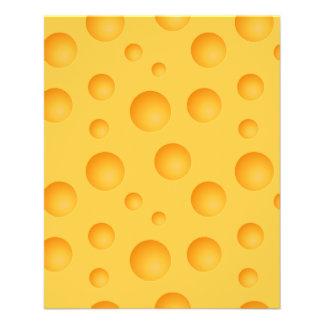 Flyer Teste padrão amarelo do queijo