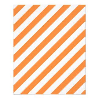 Flyer Teste padrão diagonal alaranjado e branco das