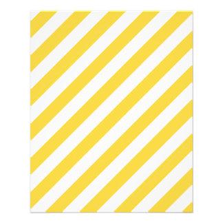 Flyer Teste padrão diagonal amarelo e branco das listras