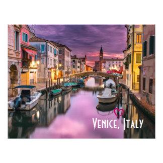 Flyer Veneza, canal cénico de Italia & arquitetura