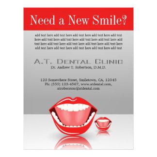 Flyer Vermelho cinzento dental odontologia grande do