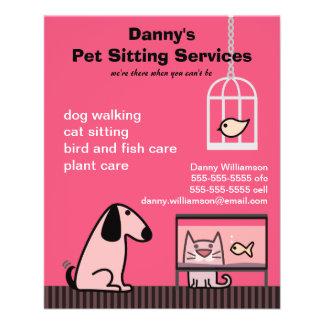 Flyer Vermelho do cão & do gato do baby-sitter do animal