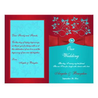 Flyer Vermelho, programa floral do casamento de turquesa