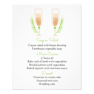 Flyer Vidros verdes & brancos de Champagne da aguarela
