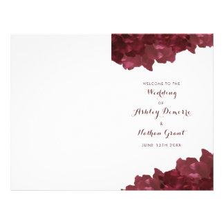 Flyer vinho colorido floral - programa do casamento