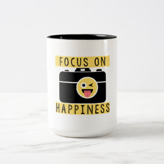 Foco na felicidade - caneca de café de dois tons