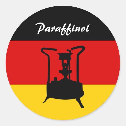 Fogão alemão da pressão da bandeira | Paraffinol Adesivo Redondo