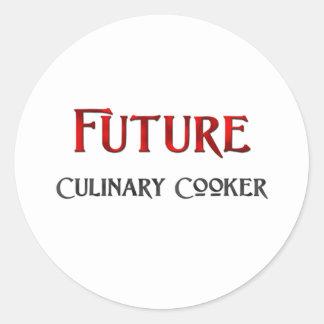 Fogão culinário futuro adesivos em formato redondos