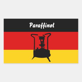 Fogão da pressão com bandeira alemão adesivo retangular