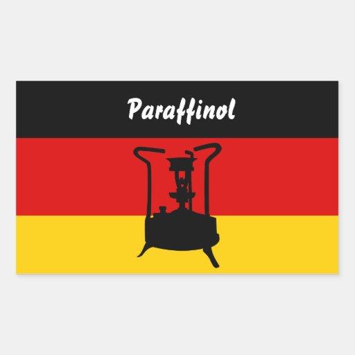 Fogão da pressão com bandeira alemão adesivo em formato retângular