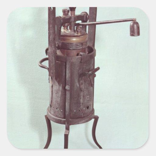 Fogão de pressão inventado por Denis Papin 1679 Adesivo Em Forma Quadrada
