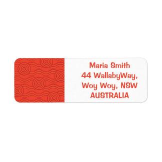 Fogo aborígene da arte etiqueta endereço de retorno
