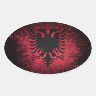 Fogo-de-artifício; Bandeira de Albânia Adesivo Oval