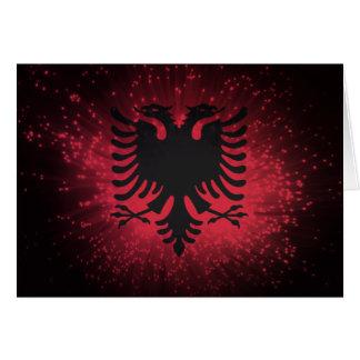 Fogo-de-artifício; Bandeira de Albânia Cartão De Nota