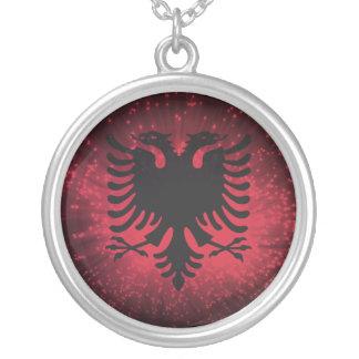 Fogo-de-artifício; Bandeira de Albânia Colar Com Pendente Redondo