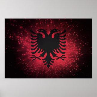 Fogo-de-artifício; Bandeira de Albânia Poster