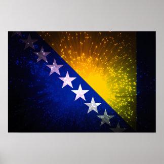 Fogo-de-artifício; Bandeira de Bósnia Poster