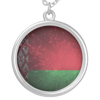 Fogo-de-artifício da bandeira de Belarus Colar Com Pendente Redondo