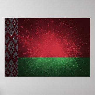 Fogo-de-artifício da bandeira de Belarus Posteres