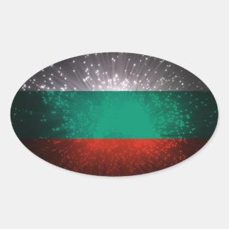 Fogo-de-artifício da bandeira de Bulgária Adesivo Oval