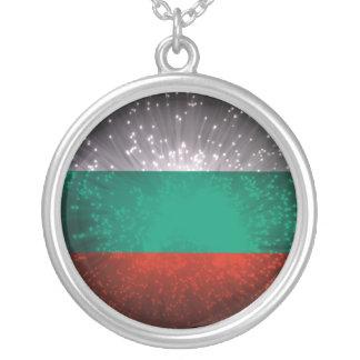 Fogo-de-artifício da bandeira de Bulgária Colar Com Pendente Redondo