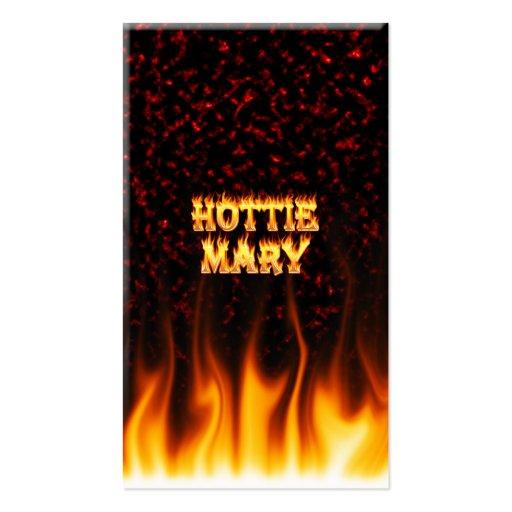 Fogo de Hottie Mary e mármore do vermelho das cham Modelos Cartoes De Visita