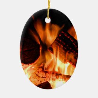 Fogo do acampamento ornamento de cerâmica oval