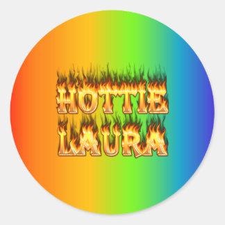 Fogo e chamas de Hottie Laura Adesivo Em Formato Redondo