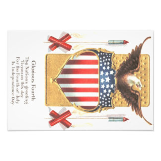 Fogos-de-artifício americanos da águia americana impressão de foto