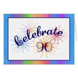 fogos-de-artifício do aniversário do 90 cartão
