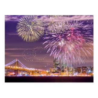 Fogos-de-artifício do ano novo de San Francisco Cartão Postal