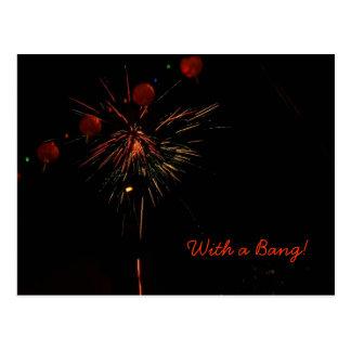 Fogos-de-artifício e lanternas do cartão