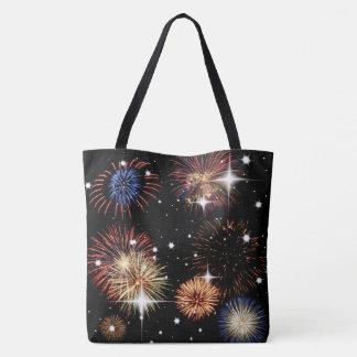 Fogos-de-artifício e sacola das estrelas bolsas tote