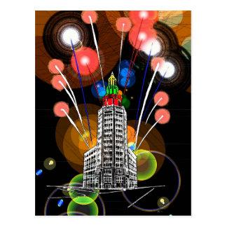 Fogos-de-artifício na torre elétrica cartoes postais