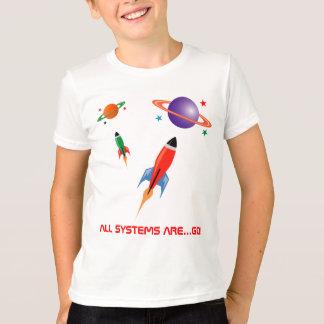 Foguetes de espaço coloridos legal camiseta