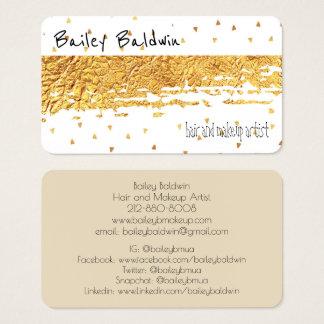 Folha afligida ouro com confetes cartão de visitas