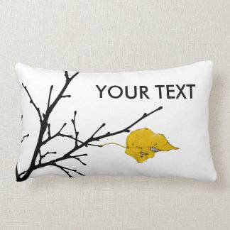 Folha amarela da limeira travesseiro de decoração