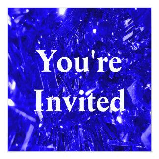Folha azul elétrica festiva convite quadrado 13.35 x 13.35cm
