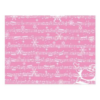 Folha cor-de-rosa do Musical do Natal do vintage Cartao Postal