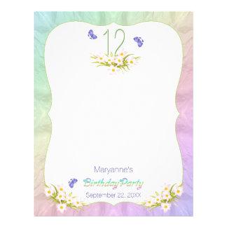 Folha da atividade da festa de aniversário das modelo de papel de carta