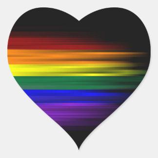 Folha da etiqueta da bandeira do arco-íris adesivo em forma de coração