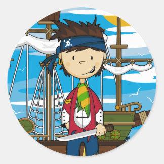 Folha da etiqueta do membro de equipagem do pirata adesivos em formato redondos