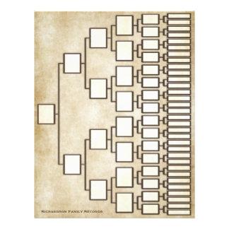 Folha da linhagem da árvore genealógica do olhar flyer