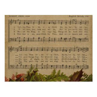 Folha de música da canção de natal do natal cartão postal
